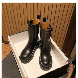 ブーツ ミドル丈 秋冬 厚底ブーツ シンプル フェイクレザー 履きやすい