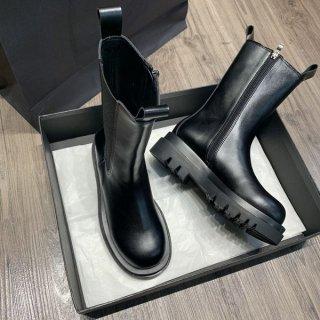 ブーツ ミドル丈 サイドジッパー 秋冬 厚底ブーツ シンプル 履きやすい
