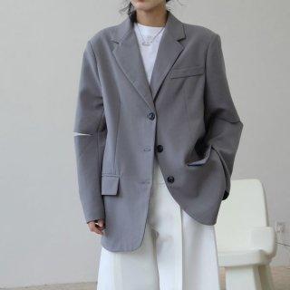 ジャケット ゆったり テーラードカラー 肘空き 特徴的 デザイン 裏地見せ