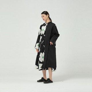 ワンピース アシンメトリー デイジー 花柄 シャツ ロング 長袖 Aライン オーバーシルエット