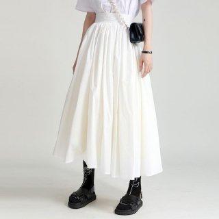 ロングスカート フレアスカート シンプル カジュアル Aライン ふんわり フェミニン ボリューム