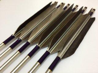 黒手羽 訳あり ジュラルミン矢6本セット 1913 濃紫色糸 シルバーシャフト
