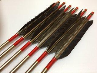 黒手羽 訳あり ジュラルミン矢6本セット 1913 赤色糸 ブロンズシャフト
