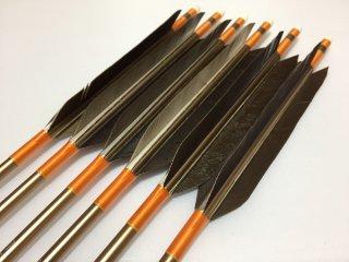 黒手羽 訳あり ジュラルミン矢6本セット 1913 オレンジ色糸 ブロンズシャフト
