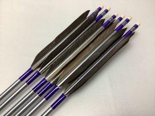 黒手羽 訳あり ジュラルミン矢6本セット 1913 紫色糸 グレーシャフト