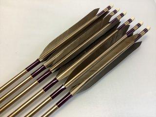 黒手羽 訳あり ジュラルミン矢6本セット 1913 濃紫色糸 ブロンズシャフト