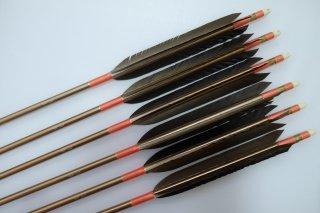 黒手羽 ジュラルミン矢6本セット サーモンピンク色糸 ブロンズシャフト