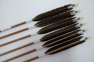 黒手羽 ジュラルミン矢6本セット 白色糸 ブロンズシャフト