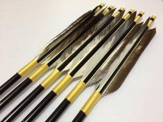 花白鳥 ジュラルミン矢6本セット 黄色糸 黒シャフト