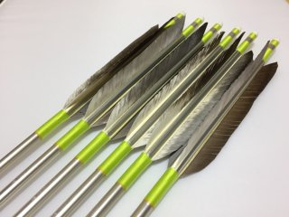 花白鳥 ジュラルミン矢6本セット ライムイエロー色糸 シルバーシャフト