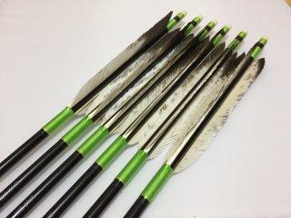 花白鳥 ジュラルミン矢6本セット 黄緑色糸 黒シャフト