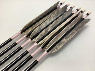 ターキー クマワシ柄 ジュラルミン矢6本セット 薄ピンク色糸 黒シャフト