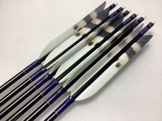 ターキー ハクタカ柄 ジュラルミン矢6本セット 紫色糸 黒シャフト