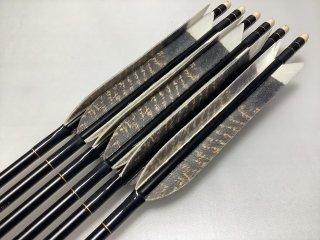 ターキー クジャク柄 ジュラルミン矢6本セット 濃グレー色糸 黒シャフト