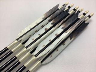 ターキー ハクタカ柄 ジュラルミン矢6本セット クリーム色糸 黒シャフト