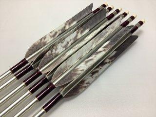 ターキー カスオ柄 ジュラルミン矢6本セット 赤紫色糸 シルバーシャフト