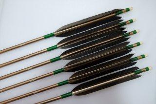黒手羽 ジュラルミン矢6本セット 緑色糸 ブロンズシャフト