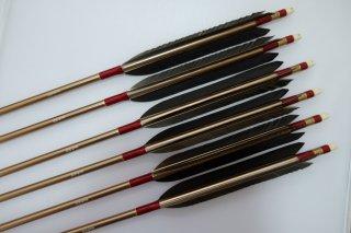 黒手羽 ジュラルミン矢6本セット ボルドー色糸 ブロンズシャフト