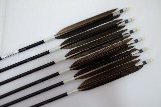 黒手羽 ジュラルミン矢6本セット 白色糸 黒シャフト
