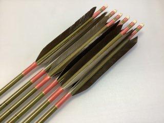 黒手羽 訳あり グリーンカーボン矢6本セット 76-20 ピンク色糸