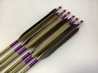 黒手羽 訳あり グリーンカーボン矢6本セット 76-20 紫色糸