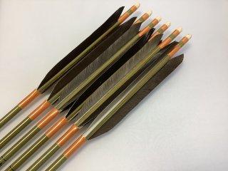 黒手羽 訳あり グリーンカーボン矢6本セット 76-20 オレンジ色糸