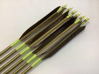 黒手羽 訳あり グリーンカーボン矢6本セット 76-20 黄緑色糸