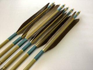 黒手羽 訳あり グリーンカーボン矢6本セット 80-23 青緑色糸