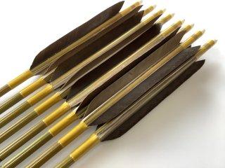 黒手羽 訳あり グリーンカーボン矢8本セット 80-23 黄土色糸