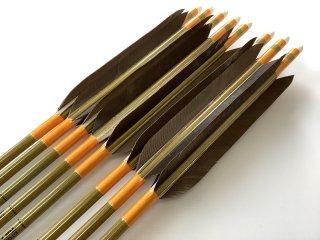 黒手羽 訳あり グリーンカーボン矢8本セット 80-23 オレンジ色糸