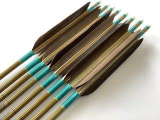 黒手羽 訳あり グリーンカーボン矢8本セット 80-23 青緑色糸