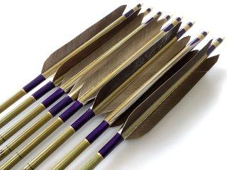 黒手羽 訳あり グリーンカーボン矢8本セット 76-20 濃紫色糸