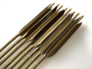 黒手羽 訳あり グリーンカーボン矢8本セット 76-20 黄土色糸