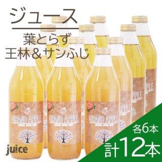 青森葉とらずりんご無添加ストレートジュース「王林・サンふじ」各6本計12本