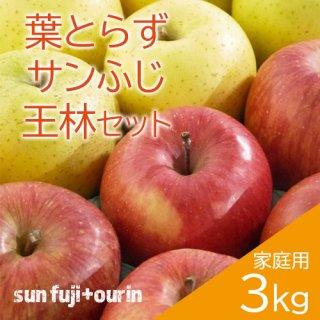 青森葉とらずりんごミックス(サンふじ・王林)家庭用3kg(約8〜11個)※12月初旬頃より発送予定