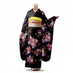 振袖 フルセット 花柄 Mサイズ 茶色系 (中古 リユース 美品) 76262