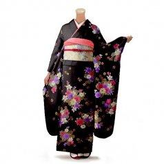 振袖 フルセット 花柄 Lサイズ 茶色系 (中古 リユース 美品) 76262