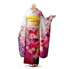 振袖 フルセット 花柄 Mサイズ 白・グレー系 (中古 リユース 美品) 86257