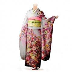 振袖 フルセット 花柄 Lサイズ 白・グレー系 (中古 リユース 美品) 86493