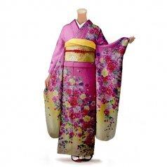 振袖 フルセット 花柄 Mサイズ ピンク・オレンジ系(中古 リユース 美品)46268