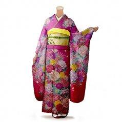 振袖 フルセット 花柄 Lサイズ ピンク・オレンジ系 (中古 リユース 美品) 46536