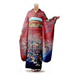 振袖 フルセット 古典 Lサイズ ピンク・オレンジ系 (中古 リユース 美品) 40229