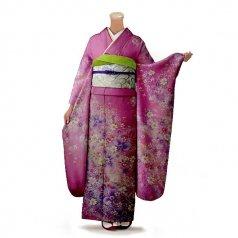 振袖 フルセット 花柄 Mサイズ ピンク・オレンジ系(中古 リユース 美品)46546