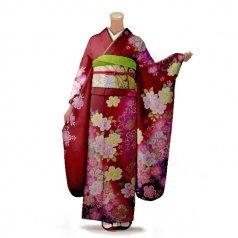 振袖 フルセット 花柄 Mサイズ 赤・ワイン系 (中古 リユース 美品) 16204