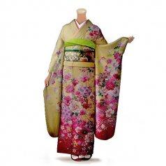 振袖 フルセット 花柄 Lサイズ からし・黄系 (中古 リユース 美品) 36359