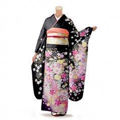 振袖 フルセット 花柄 Lサイズ 黒系(中古 リユース 美品)66301