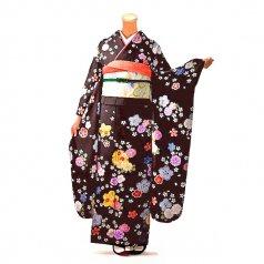 振袖 フルセット 花柄 Lサイズ 茶系(中古 リユース 美品)76614
