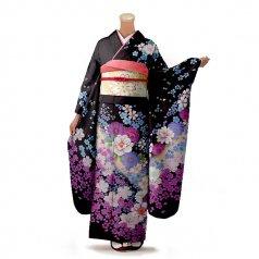 振袖 フルセット 花柄 Mサイズ 茶系(中古 リユース 美品)76257
