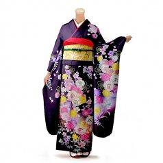 振袖 フルセット 花柄 Lサイズ 紫系 (中古 リユース 美品) 56316