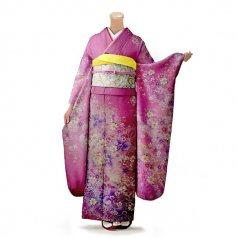 振袖 フルセット 花柄 Mサイズ ピンク・オレンジ系 (中古 リユース 美品) 46546